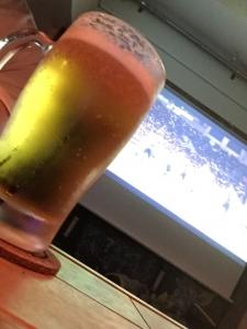 サッカー観戦でビール、Hiruko☆17-8-31