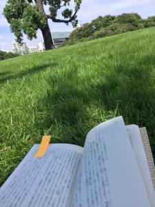 新宿御苑、芝生で読書、ぼかし☆17-9-3