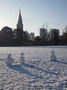 新宿御苑の雪だるま☆14-2-16