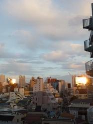 夕日の反射、鍋横方面☆18-4-27