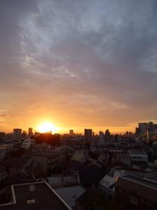 日の出、照らされる新宿高層ビル群☆18-7-11
