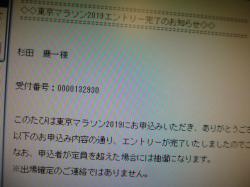 東京マラソン、エントリー完了☆18-8-6