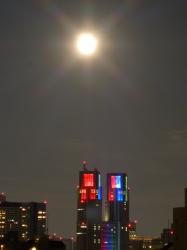 満月、都庁夜景☆18-8-26