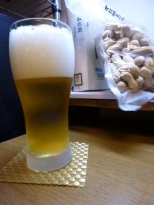 台風にて自宅でビール☆18-9-4
