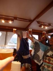 船上バーベキュー、乾杯☆19-7-13