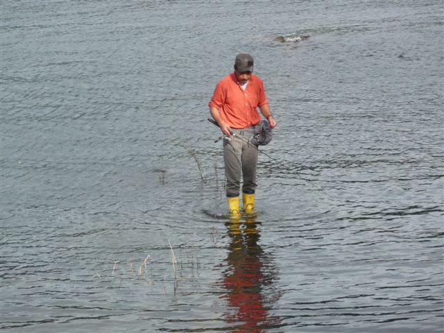 河口湖ー釣り人