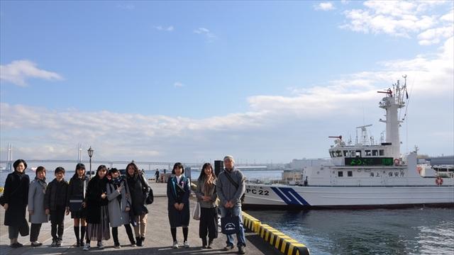 下船後の記念撮影