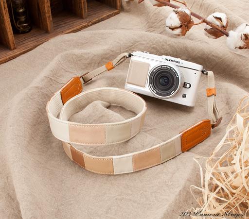 レザーパッチワーク カメラストラップ
