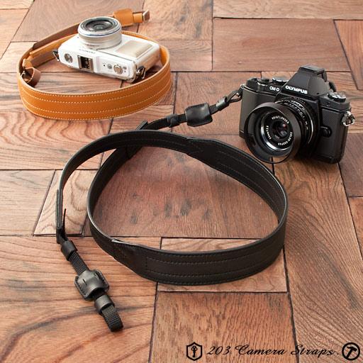 レザーカメラストラップ - ダコタ Ver.2 ブラック、キャメル