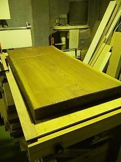 ケヤキ座卓天板削り直し