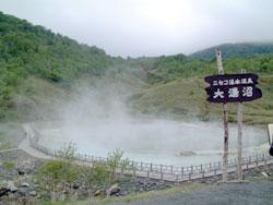 <大湯沼>わか宿から車で約15分、温泉が直接湧いているのではなく、沼底から120度の噴気が出ており沼水を加熱しているという珍しいものです。硫黄の臭い強し、足湯あり(無料)
