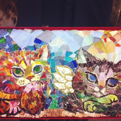 mosaico moderno gatto