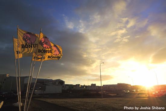 海岸でたなびくBONUSの旗