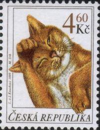 チェコの毛づくろいネコ切手