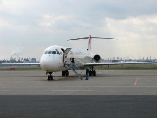 JALのいいところはハンガーの外にいろいろ飛行機があるのをみれること