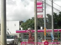 石垣島のコンビニとピースしているシーサー。