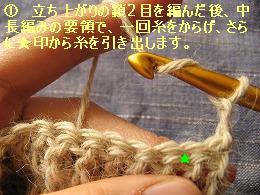 中長編みの玉編み1
