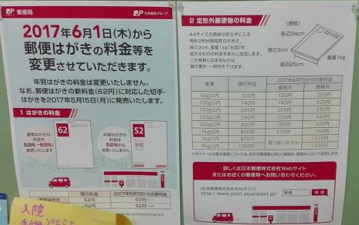 郵便料金 値上げ(2017年6月1日から)