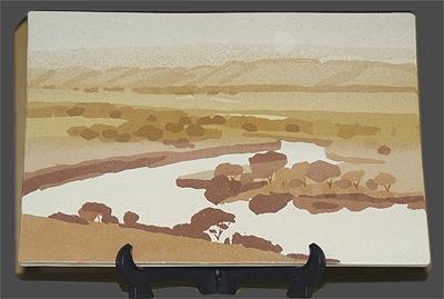 切絵象嵌陶画(湿原の朝)
