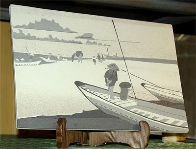 切絵象嵌陶画(天竜川)