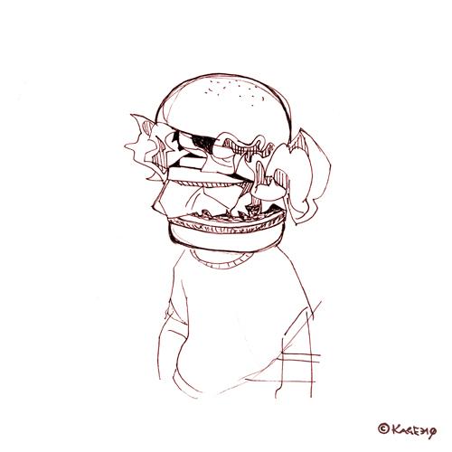ハンバーガーヘッドのイラスト