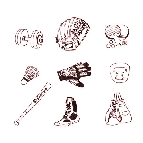 スポーツ用品のカットイラスト