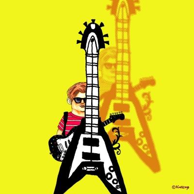 ギターの裏に潜む情熱のイラスト