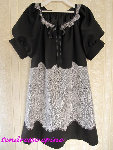 ラッセルレースサックドレス(ブラック)