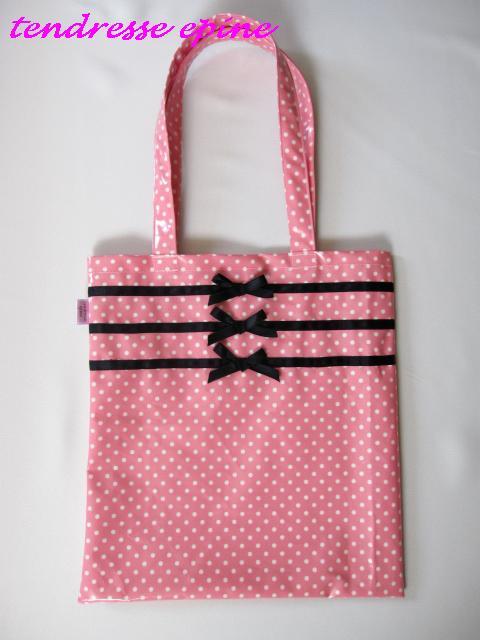 三連リボントートバッグ(ピンク)