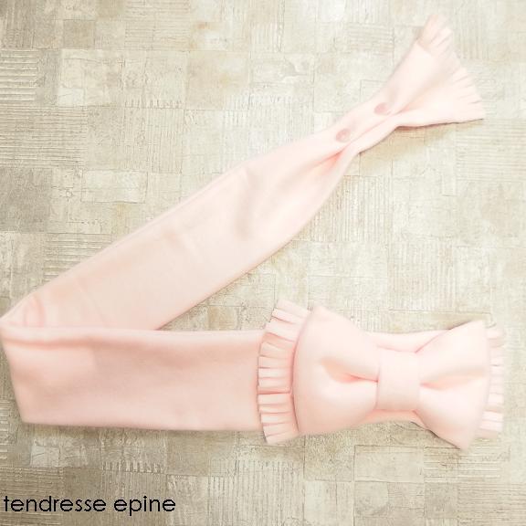 フリース素材のリボンマフラー ピンク