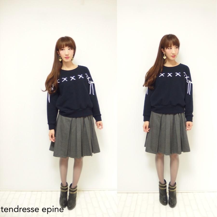 大人ガーリー系ファッション通販テンドレスエピーヌ アシメプリーツウールスカート