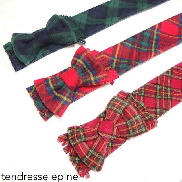 大人ガーリー系ファッション通販テンドレスエピーヌ フリースビッグリボンマフラー 新作タータンチェック