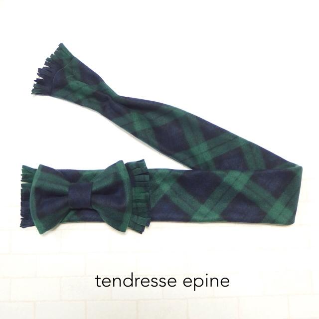 大人ガーリー系ファッション通販テンドレスエピーヌ フリースビッグリボンマフラー グリーンチェック