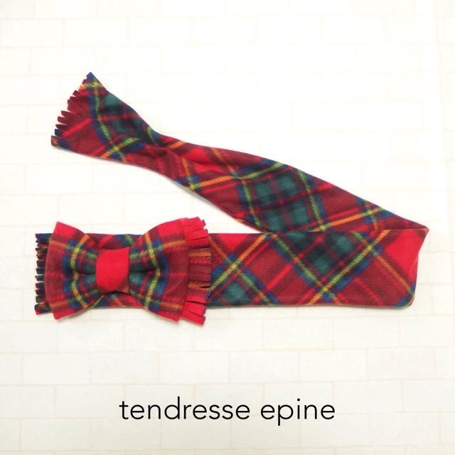 大人ガーリー系ファッション通販テンドレスエピーヌ フリースビッグリボンマフラー レッドチェックA