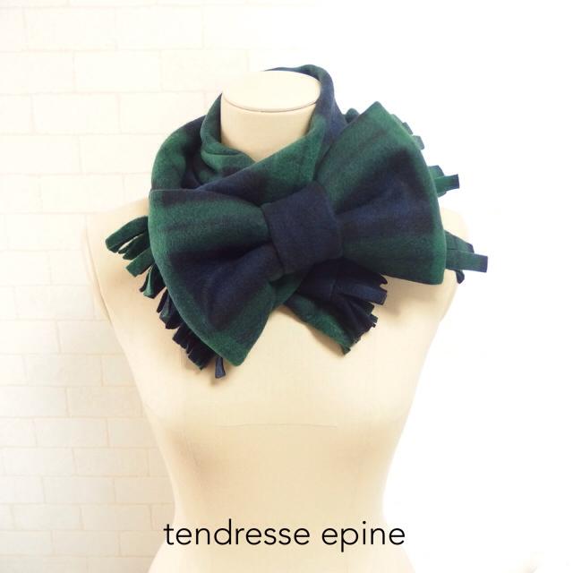 大人ガーリー系ファッション通販テンドレスエピーヌ フリースビッグリボンマフラー グリーンタータンチェック