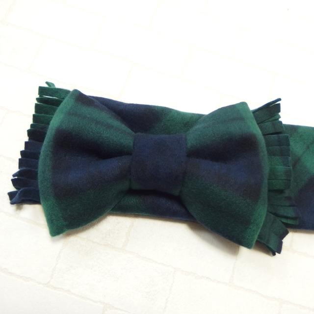 大人ガーリー系ファッション通販テンドレスエピーヌ フリースビッグリボンマフラー グリーン系タータンチェック