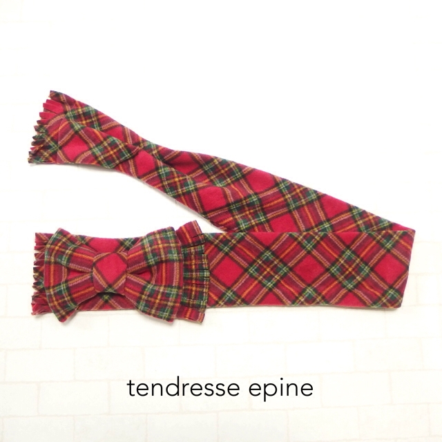 大人ガーリー系ファッション通販テンドレスエピーヌ フリースビッグリボンマフラー レッドチェックB