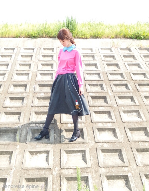 大人ガーリーファッション通販テンドレスエピーヌ 刺しゅうスカート 秋冬新作