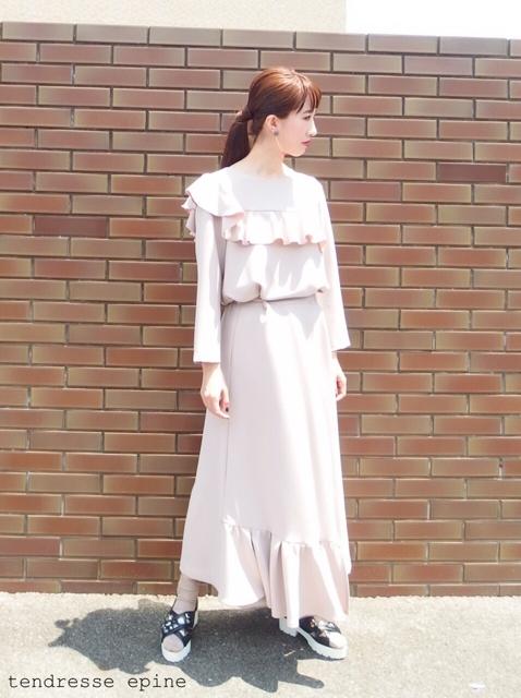 大人ガーリーファッション通販テンドレスエピーヌ セットアップ ワイドパンツ