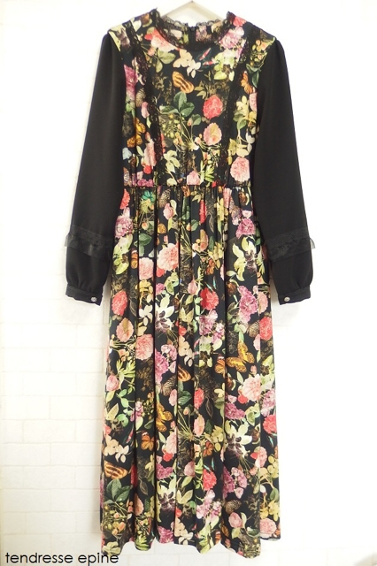 大人ガーリーファッション通販テンドレスエピーヌ 花柄ワンピース