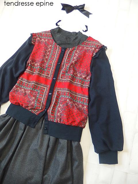 ヴィンテージ風スカーフ柄カーディガン レトロガーリースタイル