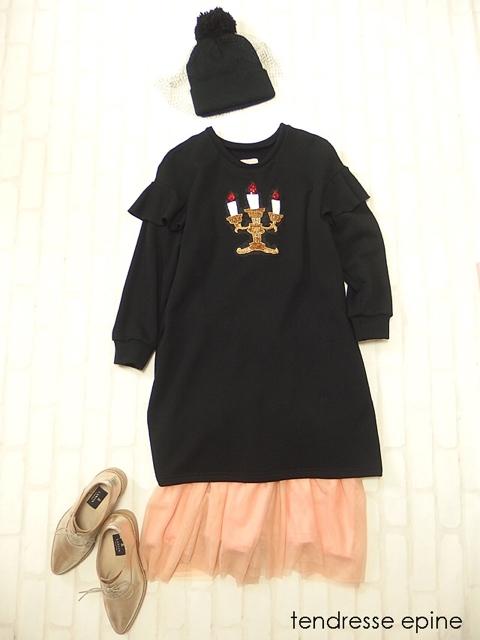candleトレーナーワンピース,レディース,秋冬,大人ガーリー,大人可愛い,スウェットワンピース,裏毛パイル,長袖ワンピース,刺繍,キャンドル,