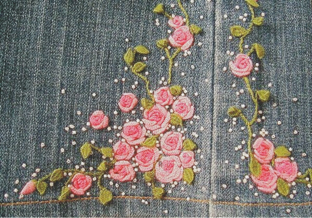 デニム,バラ刺繍,スタンプワーク