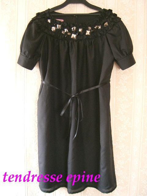 ビジュードレス ビジューフリルワンピース ブラック