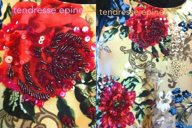 ワンピース,バラ柄,ビーズ刺繍