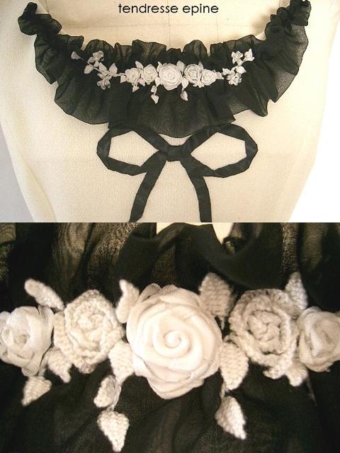 白ワンピース,ブーケ刺繍,お花刺しゅう,スタンプワーク