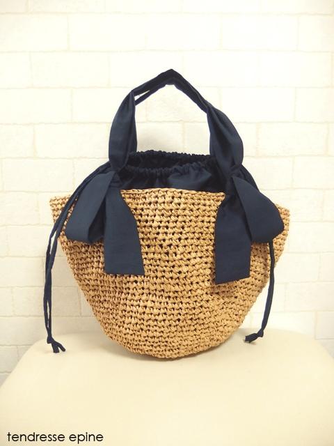 レディース小物,カゴバッグ,手編み,リボン