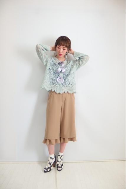 大人フェミニンファッション通販サイト,3連リボンレースカーディガンのミントグリーン