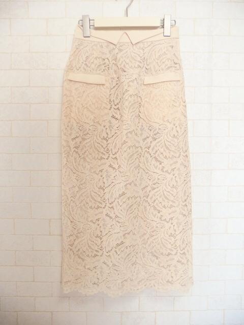 フロッキーレースタイトスカート,大人フェミニンファッション