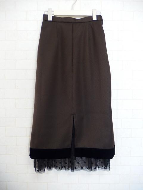 チュールレイヤードタイトスカート,ベイクドカラー,ブラウン,ドットチュール